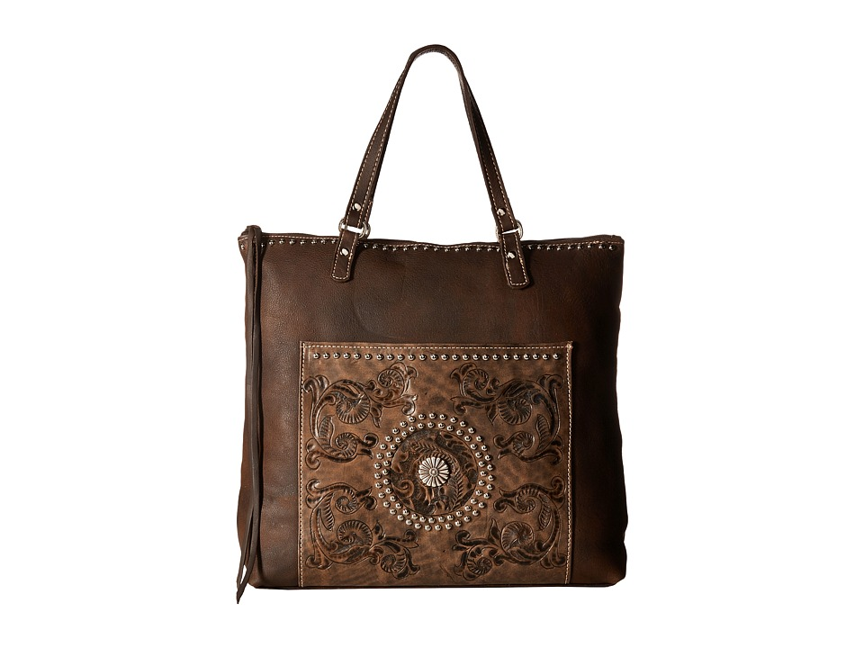 American West - Soft Zip Top Bag Pack (Distressed Brown/Distressed Charcoal Brown) Top-Zip Handbags