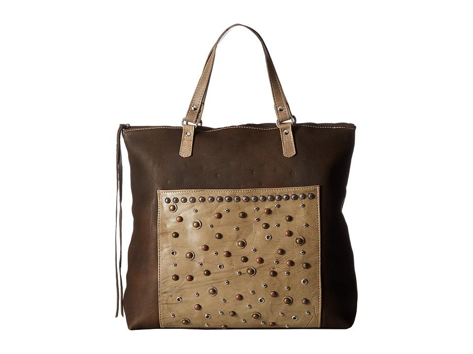 American West - Soft Zip Top Bag Pack (Distressed Brown/Sand) Top-Zip Handbags
