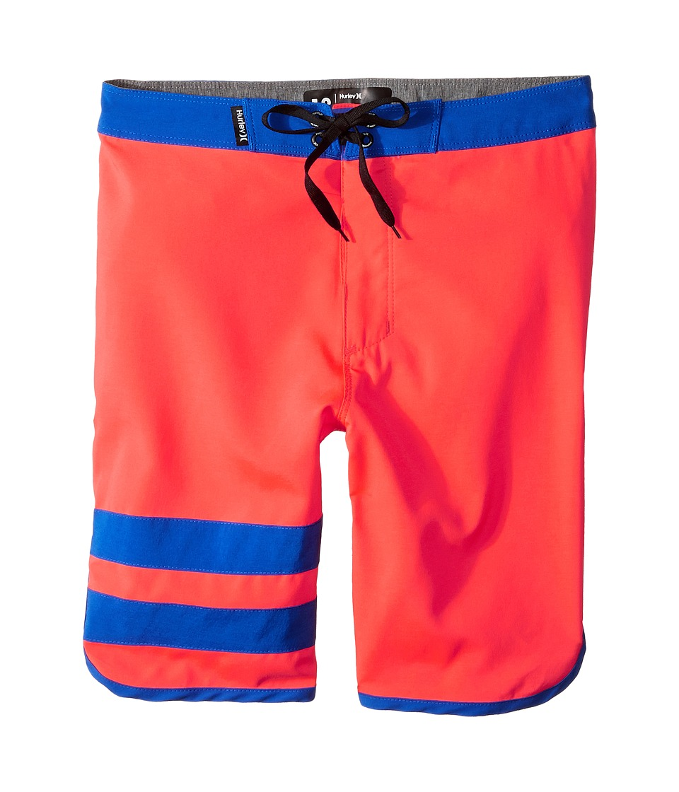 Hurley Kids - Print Block Party Boardshorts (Big Kids) (Bright Crimson) Boy's Swimwear