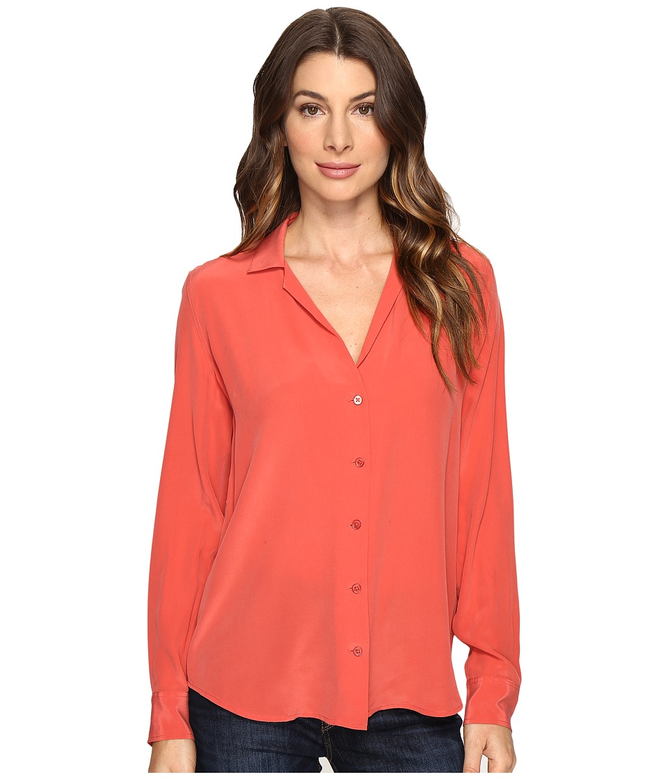EQUIPMENT - Adalyn V-Neck Button Up Solid (Cranberry) Women's Blouse