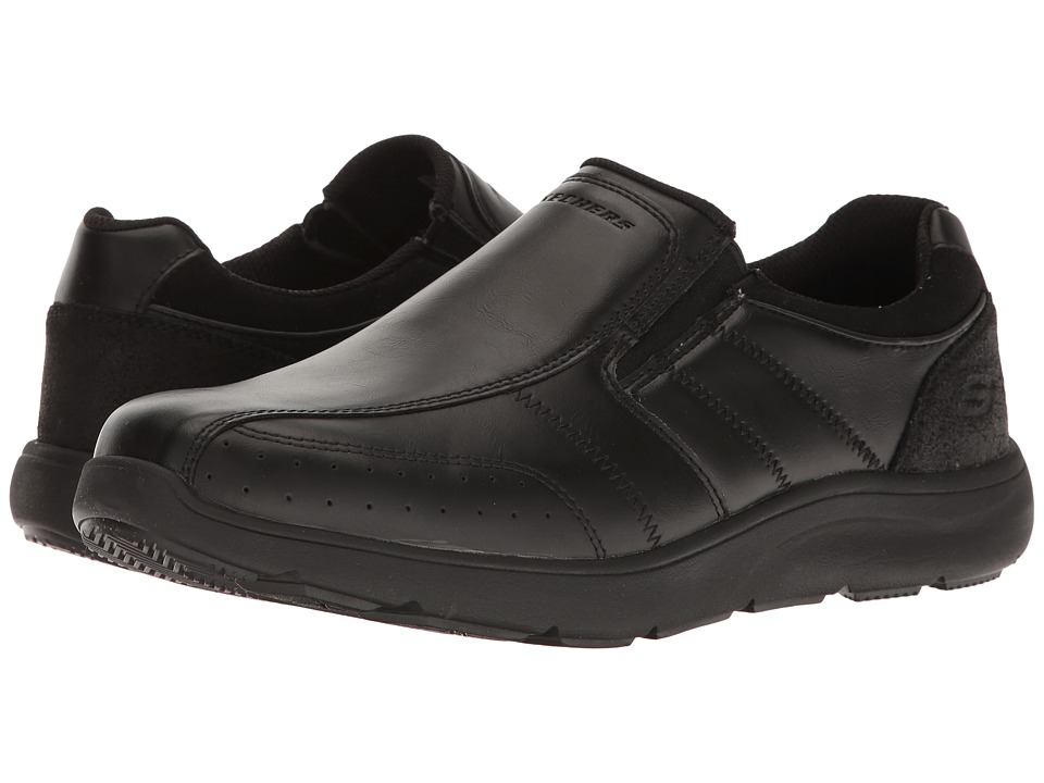 SKECHERS - Relaxed Fit Montego - Alvaro (Black Leather) Men's Shoes