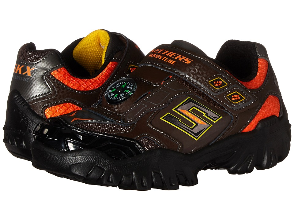 SKECHERS KIDS - Damager II - Adventure 2.0 Lights (Little Kid/Big Kid) (Chocolate/Orange) Boy's Shoes