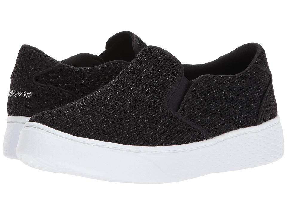 SKECHERS - Sparkle Knit Twin Gore Slip (Black/White) Women's Shoes