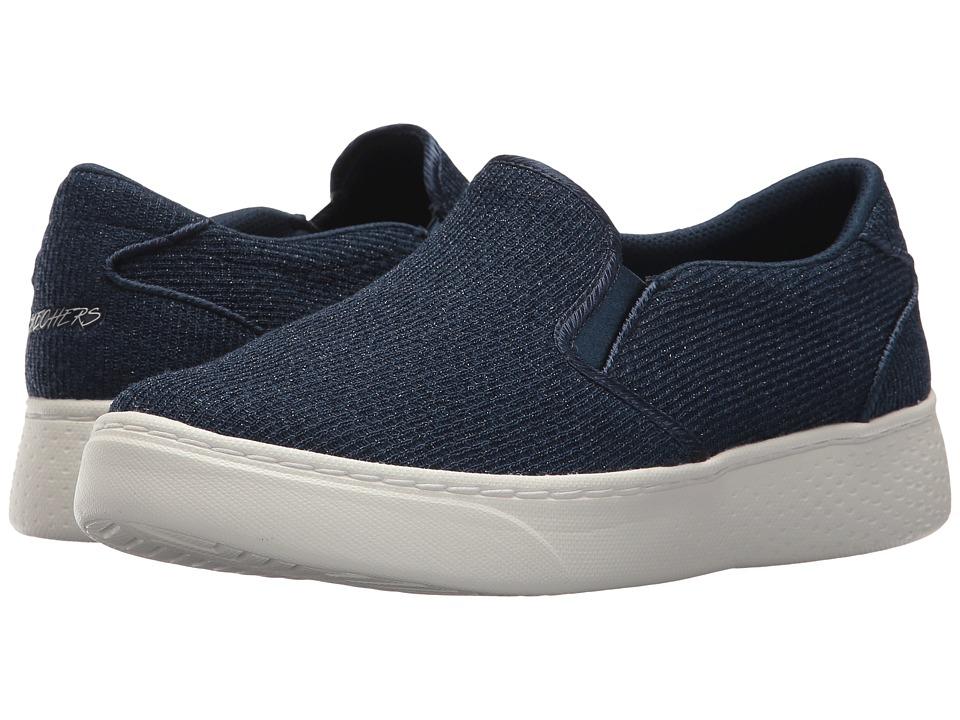 SKECHERS - Sparkle Knit Twin Gore Slip (Navy) Women's Shoes