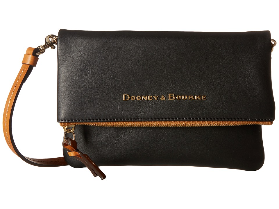 Dooney & Bourke - City Foldover Zip Crossbody (Black w/ Natural Trim) Cross Body Handbags