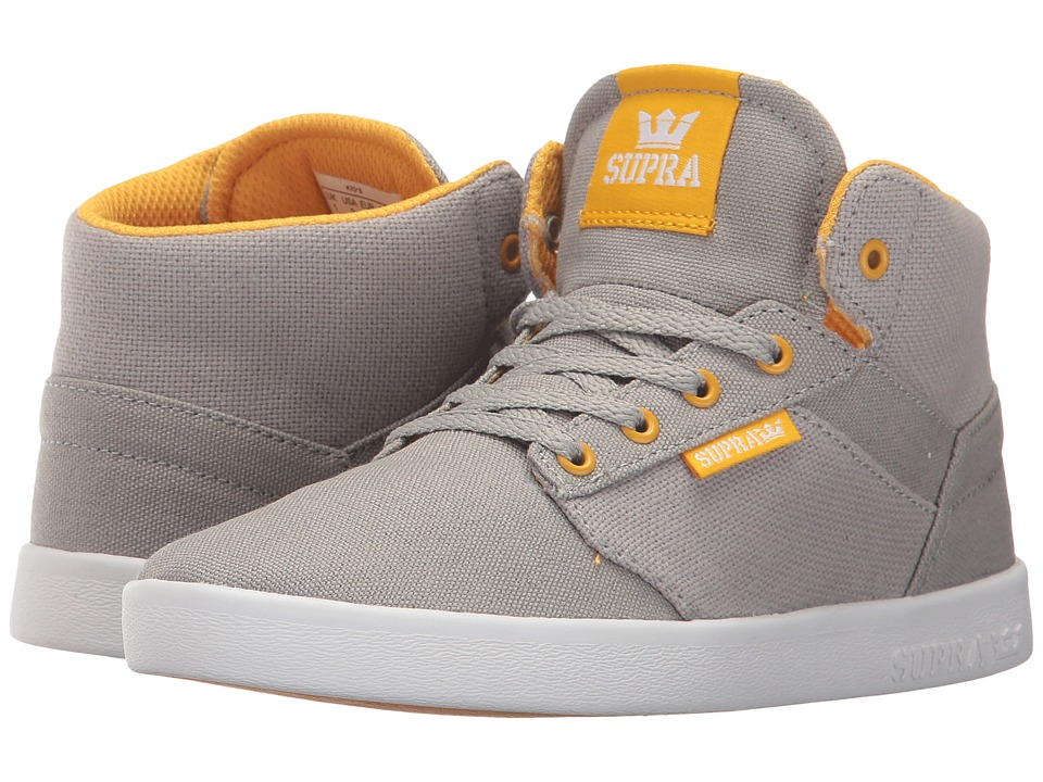 Supra Kids Yorek High (Little Kid/Big Kid) (Grey Canvas/White) Boys Shoes
