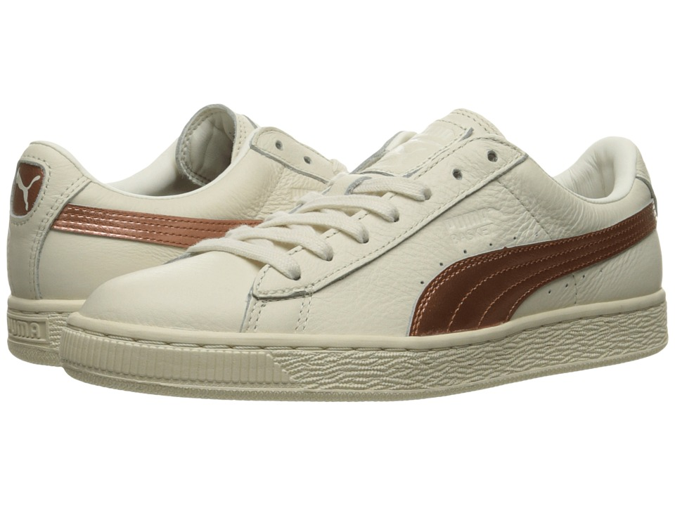 PUMA - Basket Classic Metallic SN (Whisper White/Whisper White/Copper) Women's Shoes