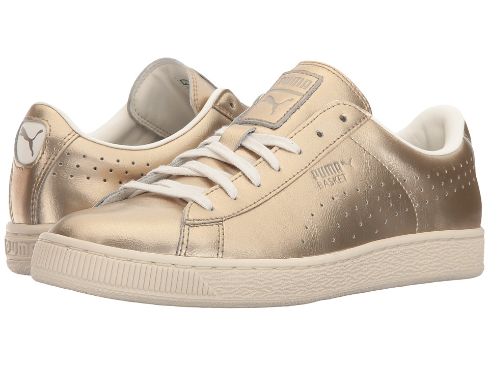 PUMA - Basket Classic Citi Metallic (Silver/Gold/Whisper White) Women's Shoes