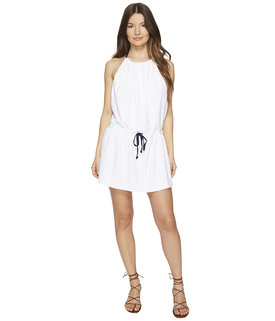 Letarte - Strappy Halter Sundress (White) Women's Swimwear