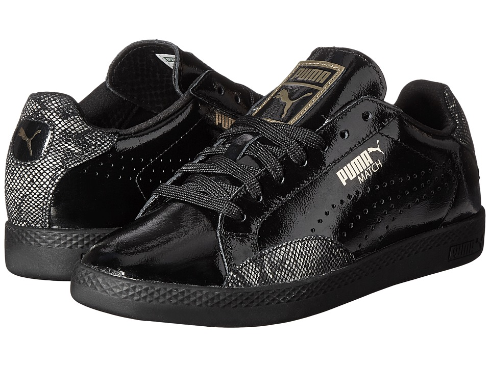 PUMA - Match Lo Print Snake (Puma Black/Gold) Women's Shoes