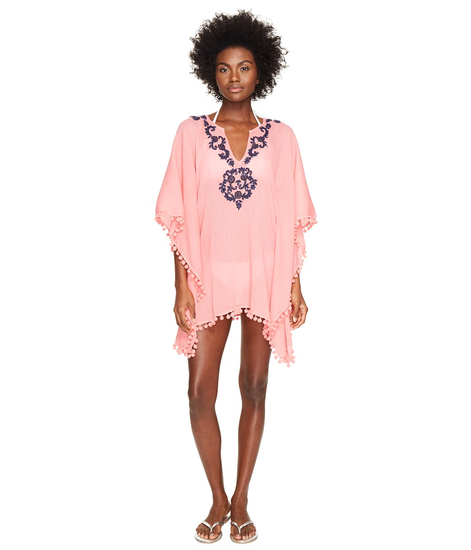 Letarte - Embroidered Poncho (Pink Coral) Women's Swimwear