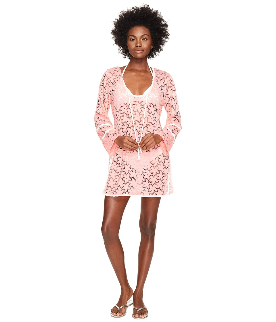 Letarte - Lace Tunic Cover-Up (Pink Coral) Women's Swimwear