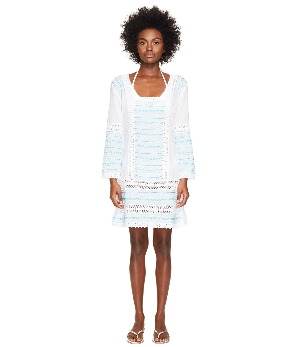 Letarte - Embroidered Long Sleeve Tunic Dress (White Multi) Women's Swimwear