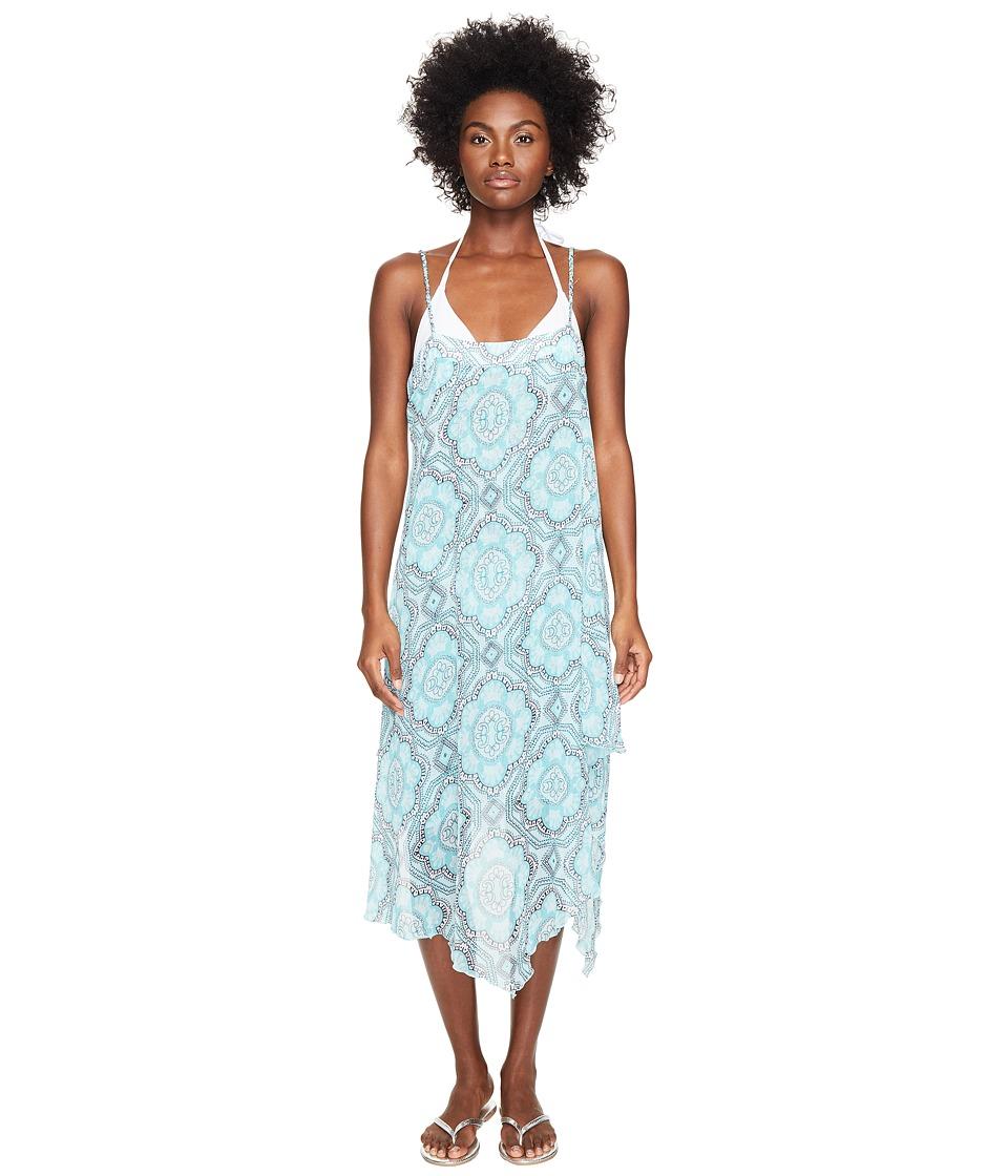 Letarte - Printed Sundress (Turquoise Multi) Women's Swimwear