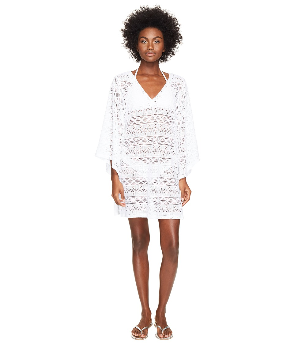 Letarte - Lace V-Neck Cover-Up (White) Women's Swimwear