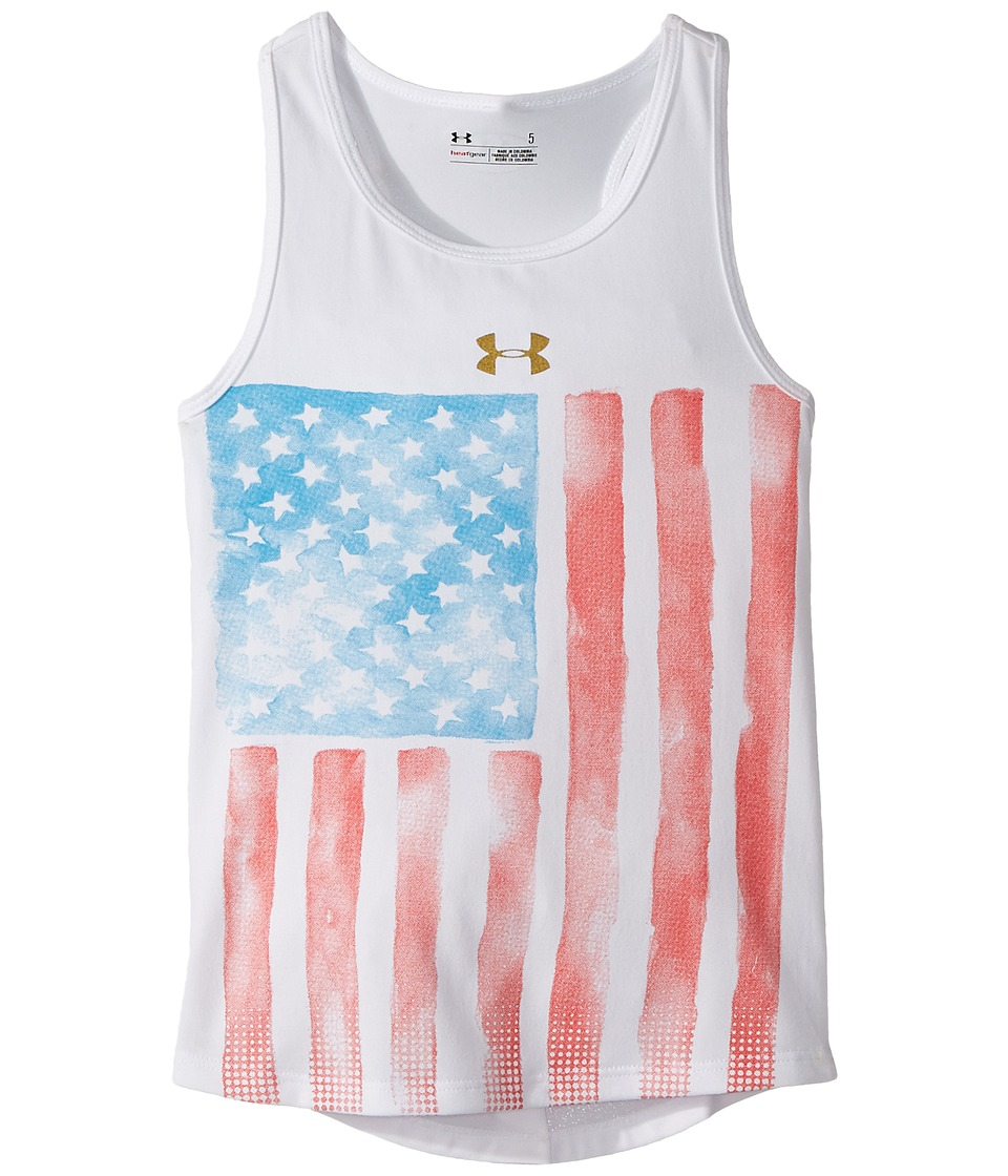 Under Armour Kids - Watercolor Flag Tank Top (Little Kids) (White) Girl's Sleeveless