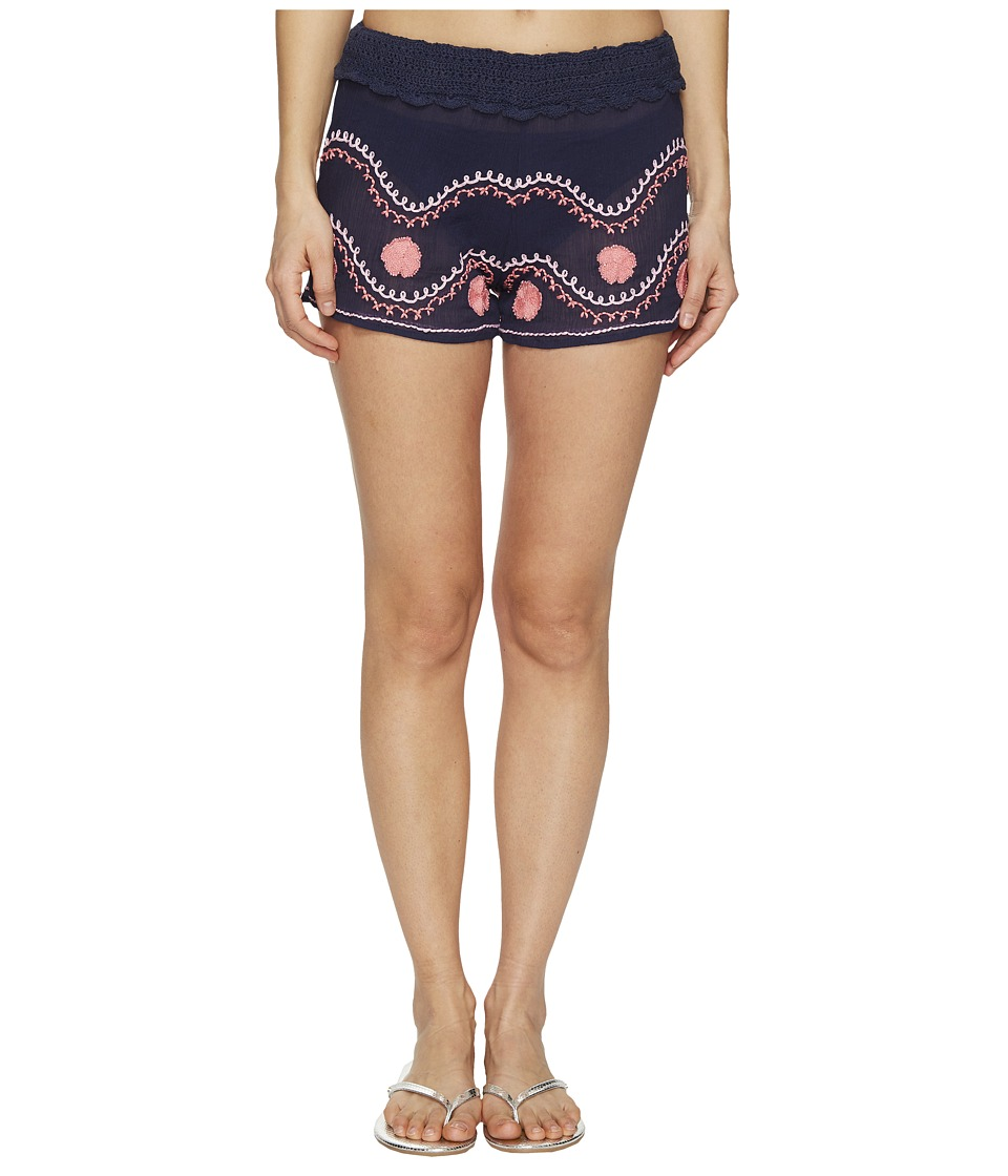 Letarte Embroidered Beach Shorts (Dusty Navy) Women