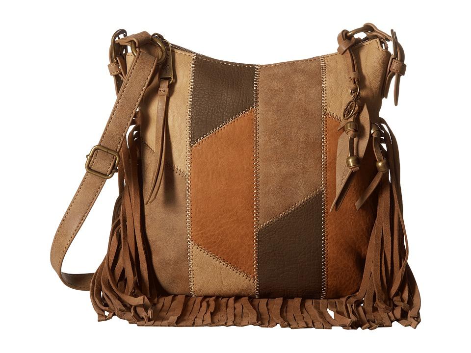 Jessica Simpson - Delilah Patchwork Top Zip Crossbody (Neutral Patchwork) Cross Body Handbags