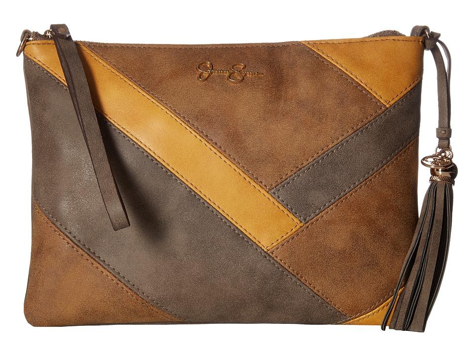 Jessica Simpson - Helena Crossbody Clutch (Truffle/Acorn/Mustard) Clutch Handbags