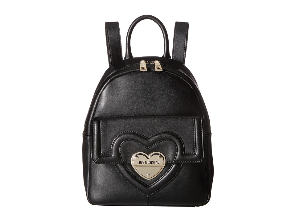LOVE Moschino - Leather Mini Backpack (Black) Backpack Bags