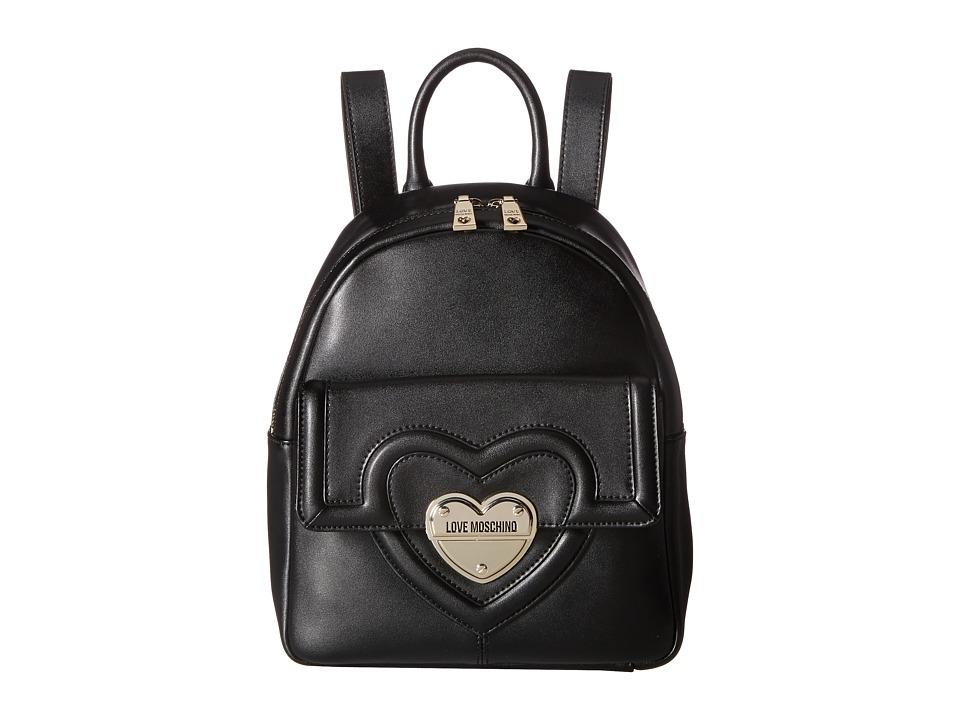 LOVE Moschino - Leather Mini Backpack (Black) Backpack Bags