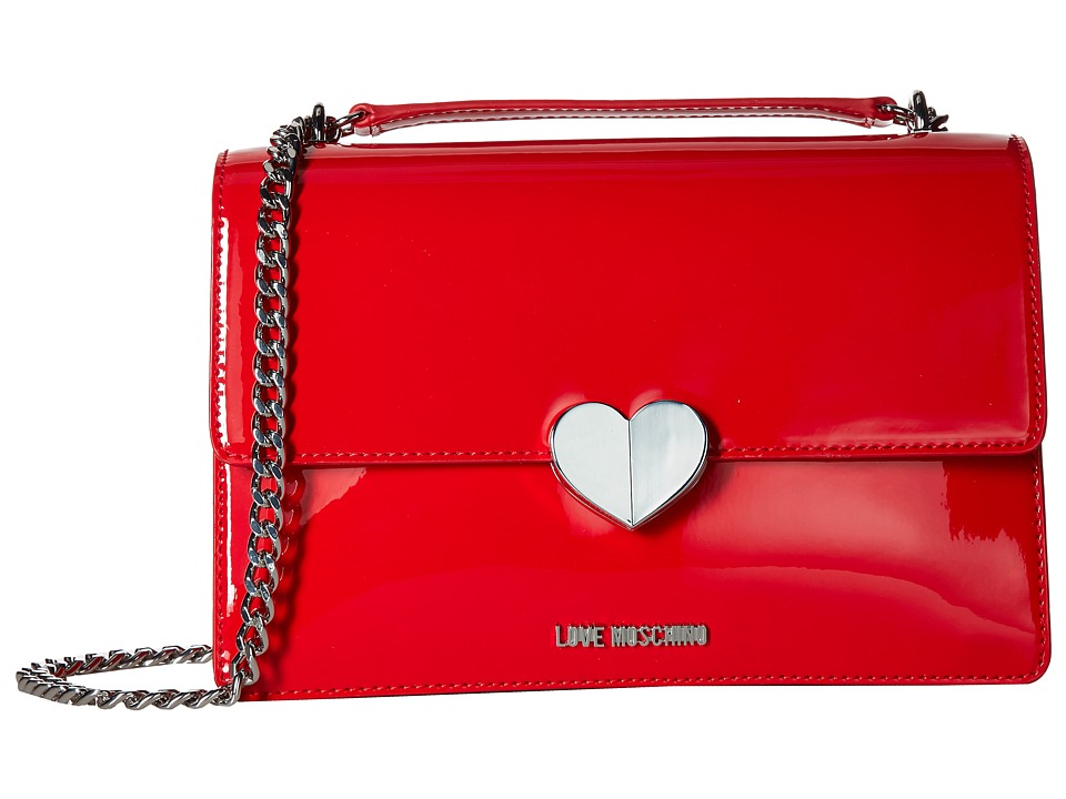 LOVE Moschino - Metallic Shoulder Bag w/ Heart (Red) Shoulder Handbags