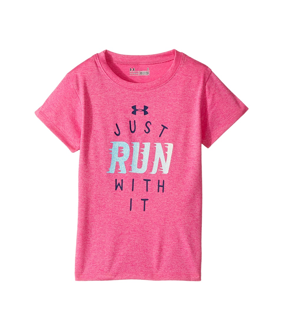 Under Armour Kids - Just Run with It Shirt (Little Kids) (Rebel Pink) Girl's Clothing