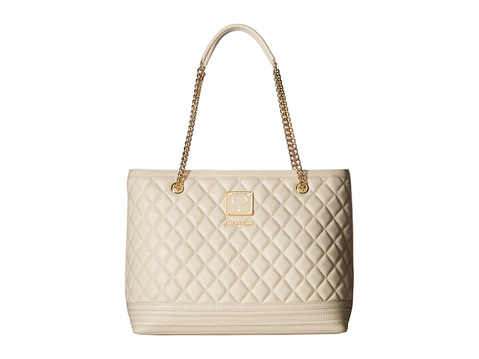 LOVE Moschino - Quilted Tote with Chain (Ivory) Tote Handbags