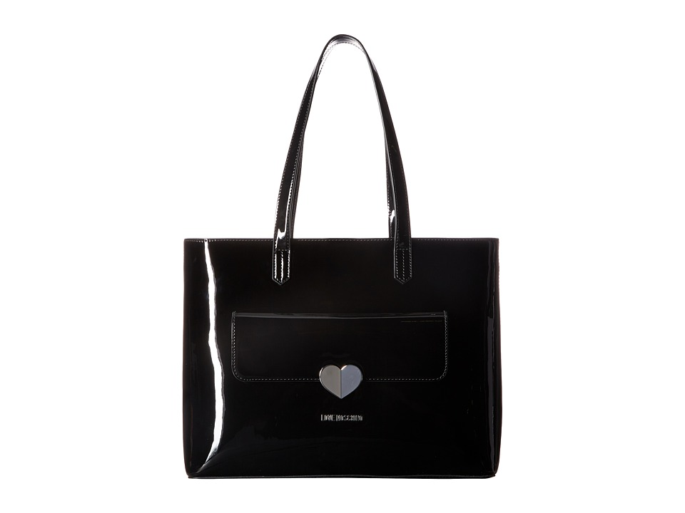LOVE Moschino - Metallic Tote w/ Heart (Black) Tote Handbags