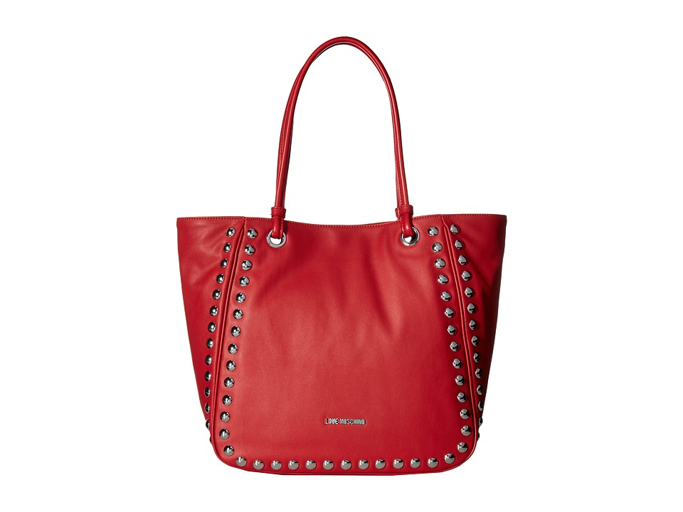 LOVE Moschino - Studded Large Tote (Red) Tote Handbags