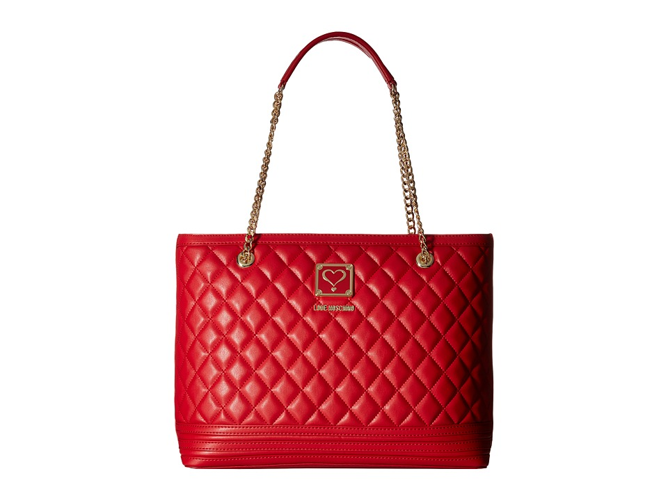 LOVE Moschino - Quilted Tote with Chain (Red) Tote Handbags