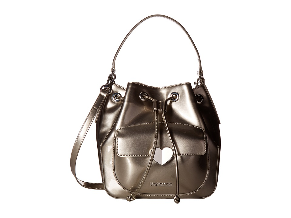 LOVE Moschino - Cut Heart Patent Bucket Bag (Grey) Handbags