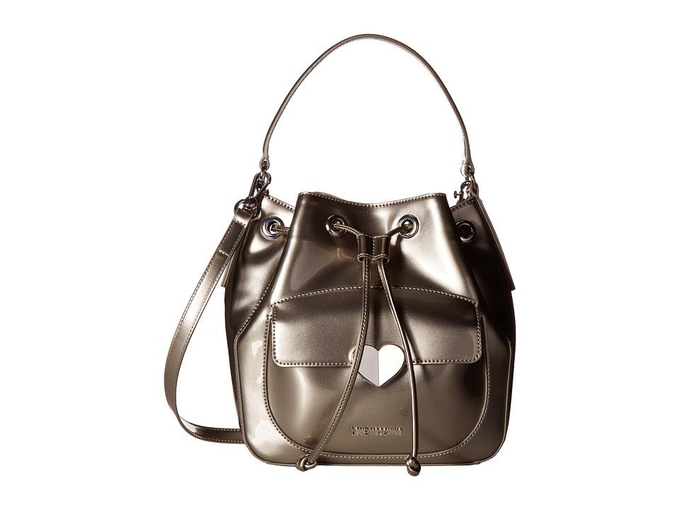 LOVE Moschino - Cut Heart Patent Bucket Bag (Grey) Handbags