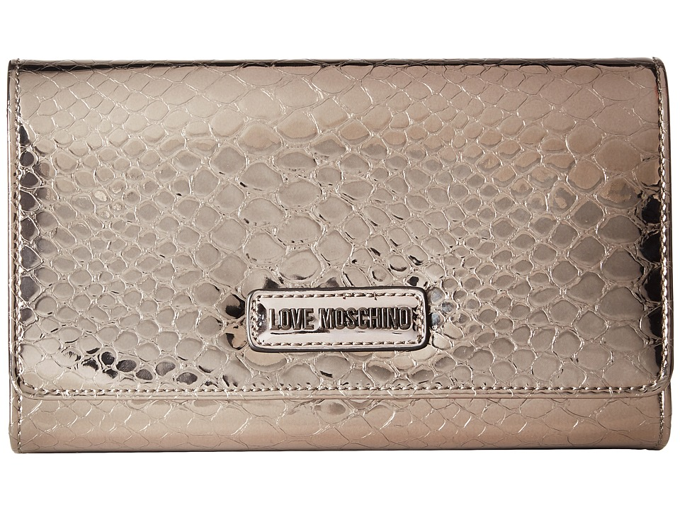 LOVE Moschino - Shiny Python Evening Bag (Gunmetal) Handbags