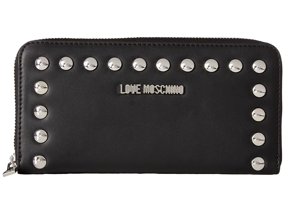LOVE Moschino - Studded Large Zip-Up Wallet (Black) Wallet Handbags