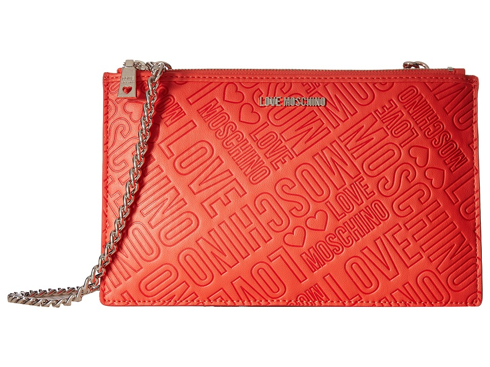 LOVE Moschino - Embossed Logo Pouch Bag (Orange) Travel Pouch
