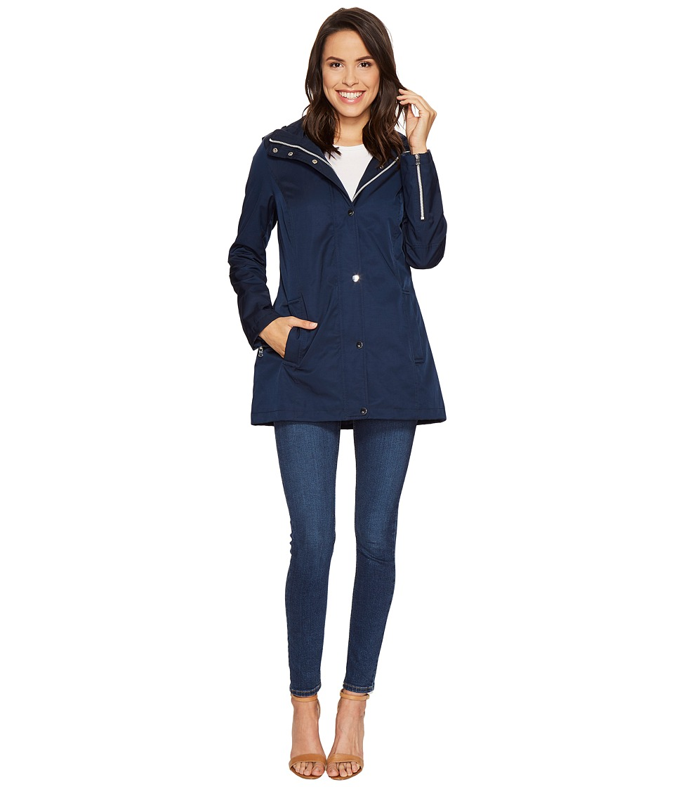 Tommy Hilfiger - Snap Closure Zip Jacket (Navy) Women's Coat