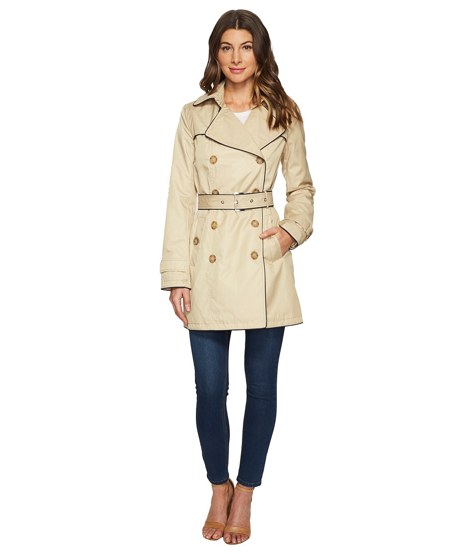 Tommy Hilfiger - Belted Zip Front Jacket (Khaki) Women's Coat