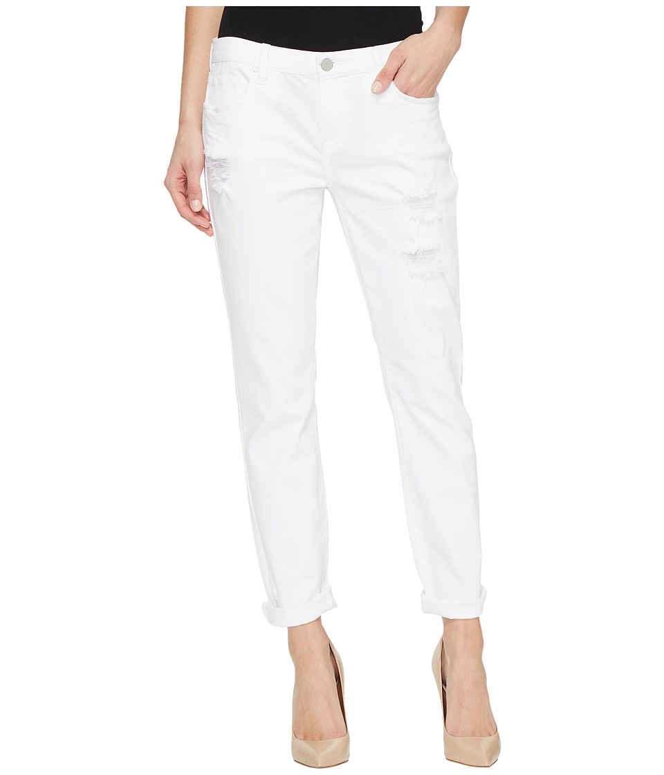 Blank NYC - White Destructed Girlfriend Body in White Lines (White Lines) Women's Casual Pants