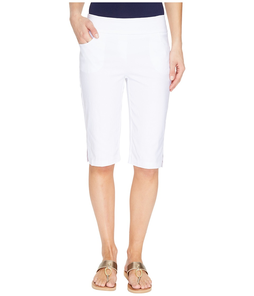 Tribal - Stretch Bengaline 13 Flatten It Pull-On Bermuda Short w/ Pocket (White) Women's Shorts