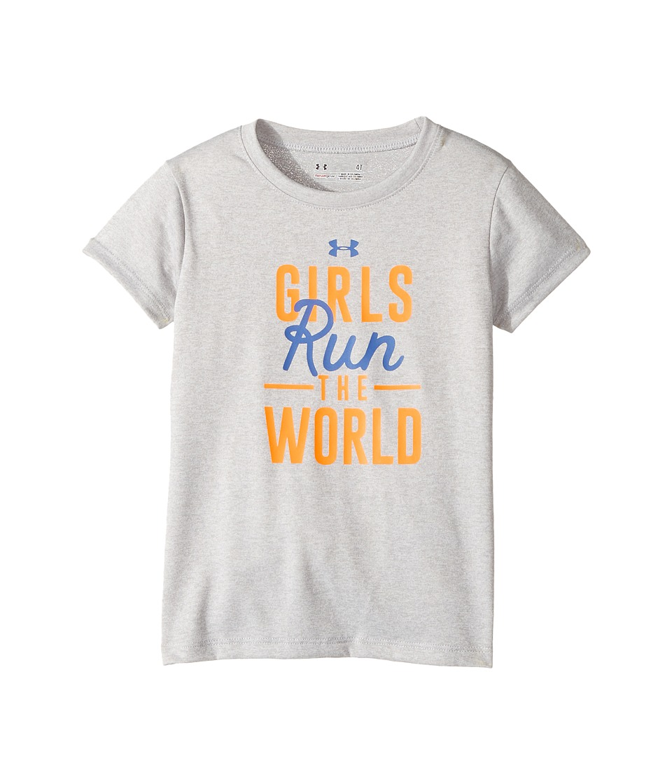 Under Armour Kids - Run The World Short Sleeve (Toddler) (Airforce Heather) Girl's Clothing