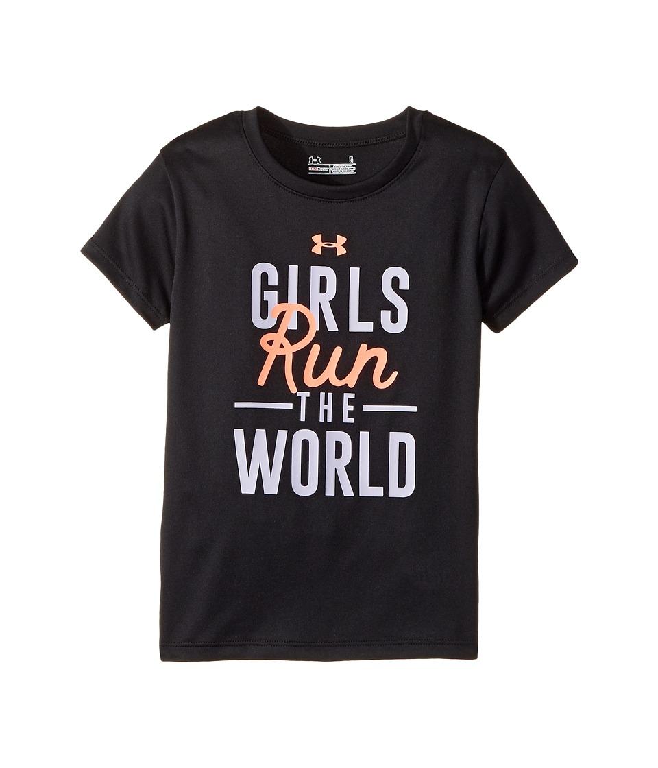 Under Armour Kids - Run The World Short Sleeve (Little Kids) (Black) Girl's Clothing