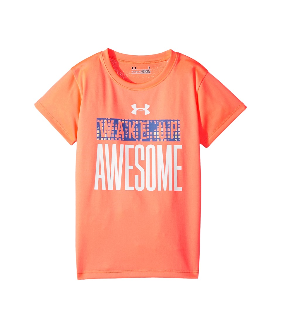 Under Armour Kids - Woke Up Awesome Terra Short Sleeve (Little Kids) (London Orange) Girl's Clothing