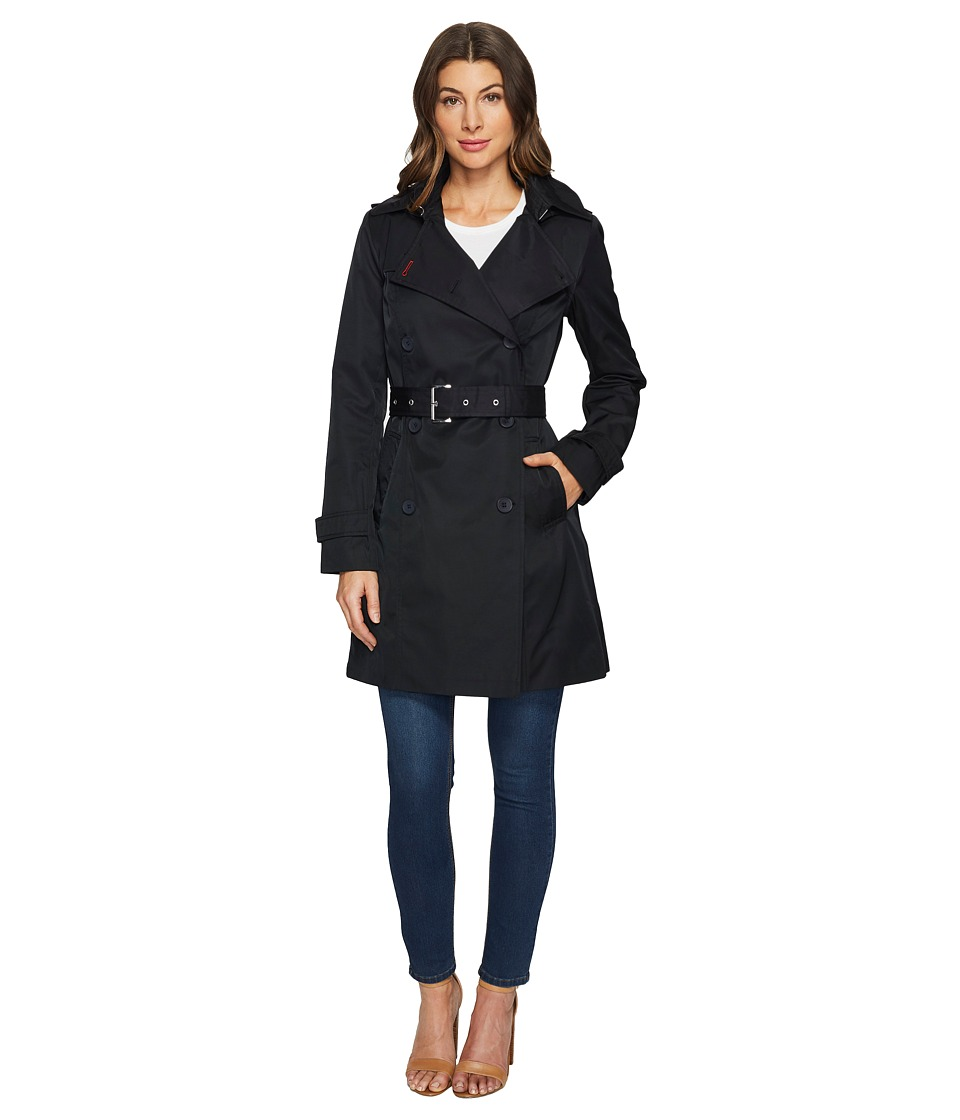 Tommy Hilfiger - Double Breasted Trench Coat (Black) Women's Coat