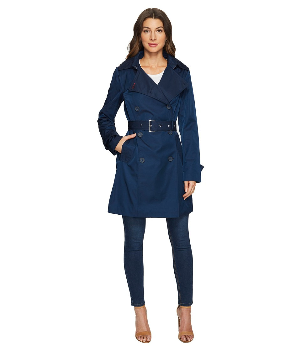 Tommy Hilfiger - Double Breasted Trench Coat (Navy) Women's Coat