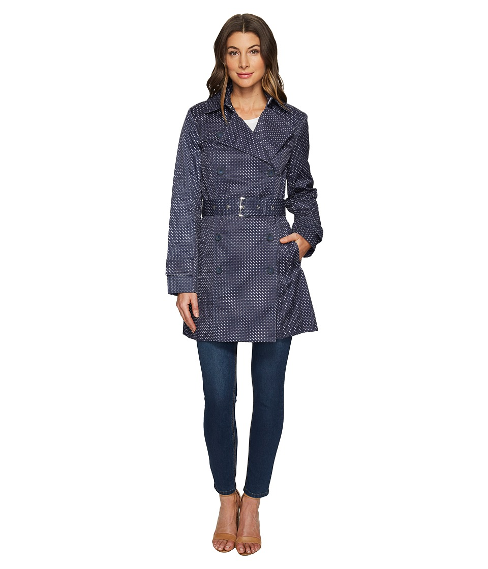 Tommy Hilfiger - Belted Trench Coat (Navy/White) Women's Coat