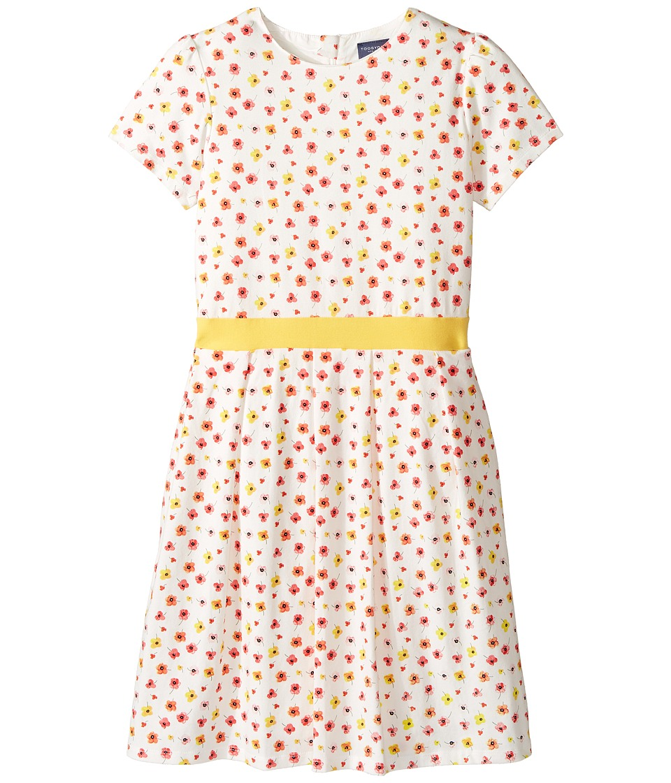 Toobydoo - Floral Belted Jersey Party Dress (Toddler/Little Kids/Big Kids) (Red/Yellow/White) Girl's Dress