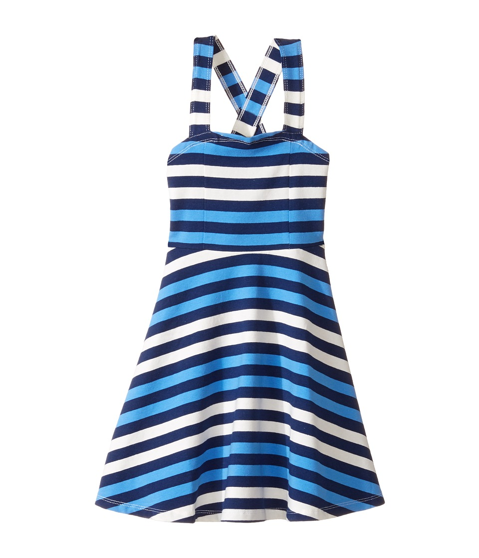 Toobydoo - Tank Top Skater Dress (Toddler/Little Kids/Big Kids) (Navy/Blue/White) Girl's Dress