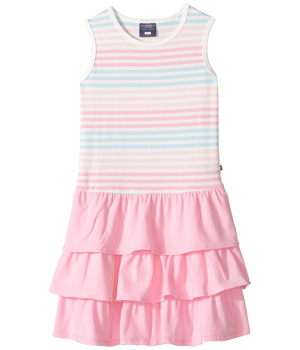 Toobydoo - Tank Top Ruffle Dress (Toddler/Little Kids/Big Kids) (Pink/Blue/White) Girl's Dress