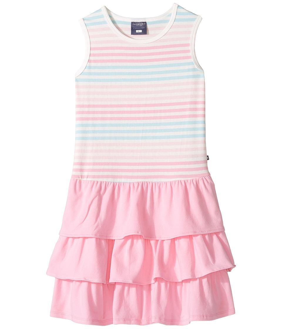 Toobydoo - Tank Top Ruffle Dress (Toddler/Little Kids/Big Kids) (Pink/Blue/White) Girl's Dress